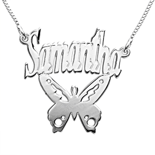 Individualisierte 925 Silber Schmetterlings-Namenskette
