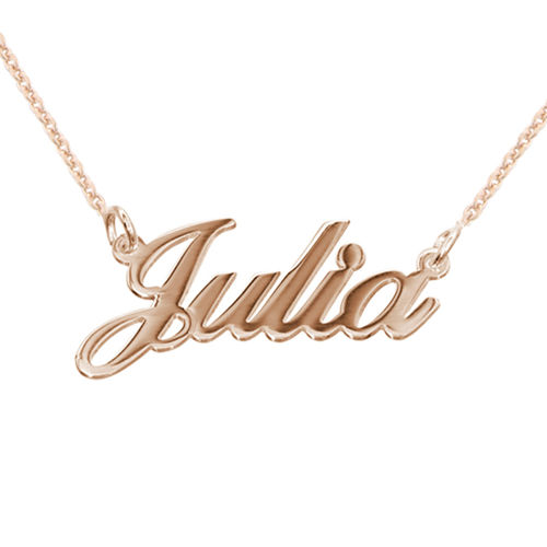 Kleine Namenskette in Druckschrift- Klassik aus 750 Rosé vergoldetem 925 Silber