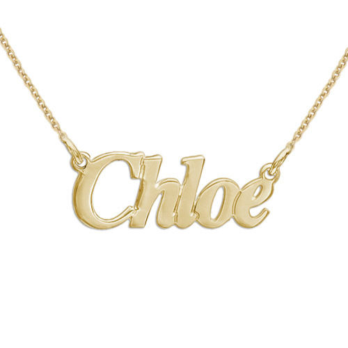 """750 Gold vergoldete kleine Namenskette aus 925 Silber im """"Angel"""" Style"""