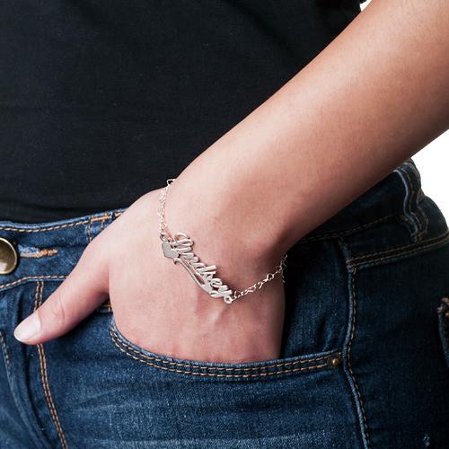 925 Silber Namensarmband/Fußband mit seitlichem Herz - 2