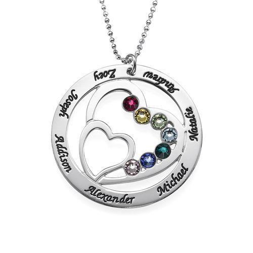 Herz in Herz Halskette mit Geburtssteinen