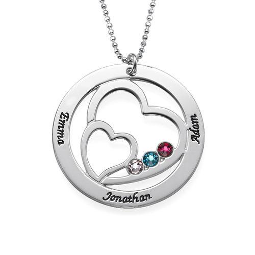 Herz in Herz Halskette mit Geburtssteinen - 1