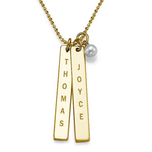 750er vergoldete Silber Halskette mit graviertem Namensanhänger