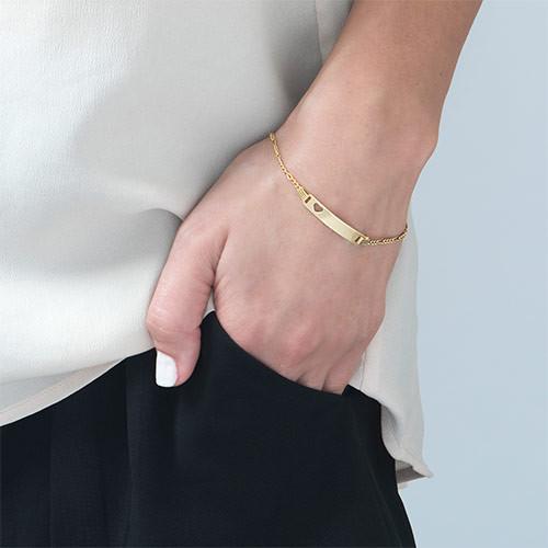 750 vergoldetes 925er Silber Armband mit Herz - 2