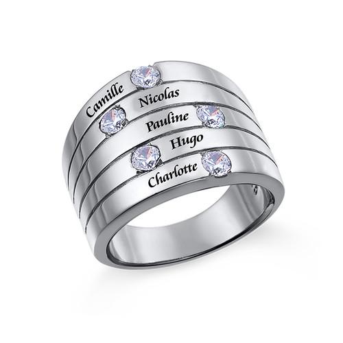 Silberring mit fünf Kristall Steinchen für Mütter