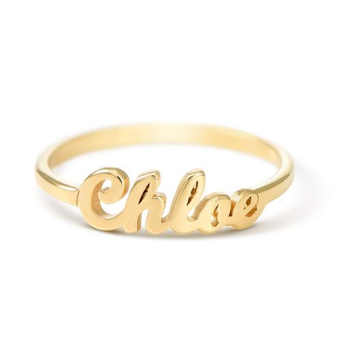 Namensring aus Goldbeschichtung