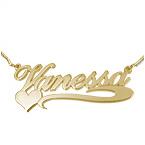 Vergoldete 925 Silber Namenskette mit seitlichem Herz
