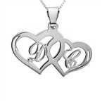 925 Silber Pärchenkette mit zwei Herzen