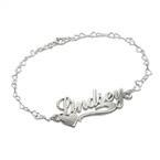 925 Silber Namensarmband/Fußband mit seitlichem Herz