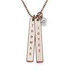 750er Rosé vergoldete Silber Halskette mit graviertem Namensanhänger