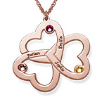 Personalisierbare, rosé vergoldet Herzkette mit drei Herzen