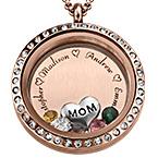 Charm-Medaillon mit Gravur und Rosévergoldung -