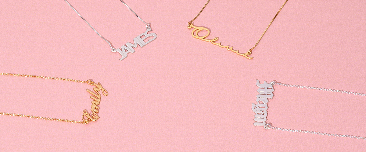 Namensketten in verschiedenen Materialien