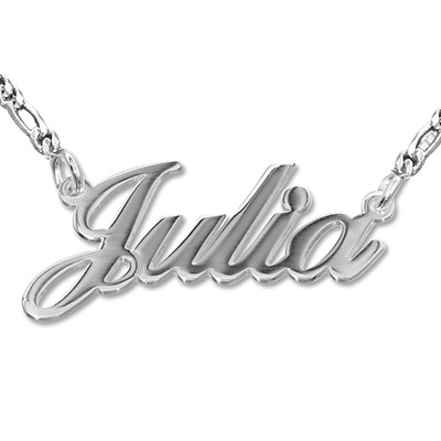 Sterling Silber Namenskette in Druckschrift- Klassik Doppeltstarkes Metall