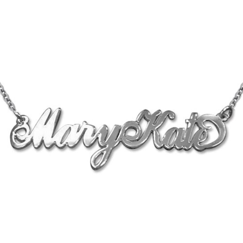 """Doppelstarke 925 Silber Namenskette im """"Carrie"""" Stil mit zwei Großbuchstaben"""