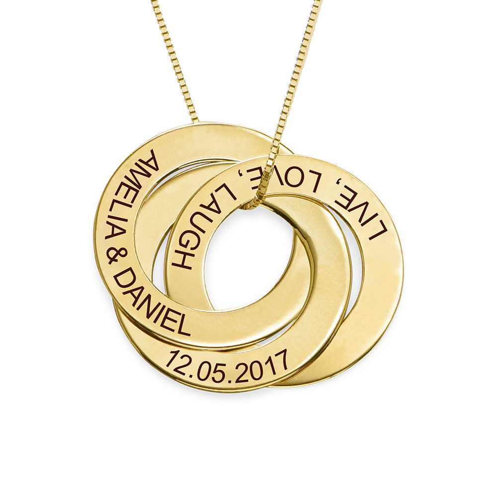 Russischer-Ring-Halskette mit Gravur aus 417er-Gelbgold - 1