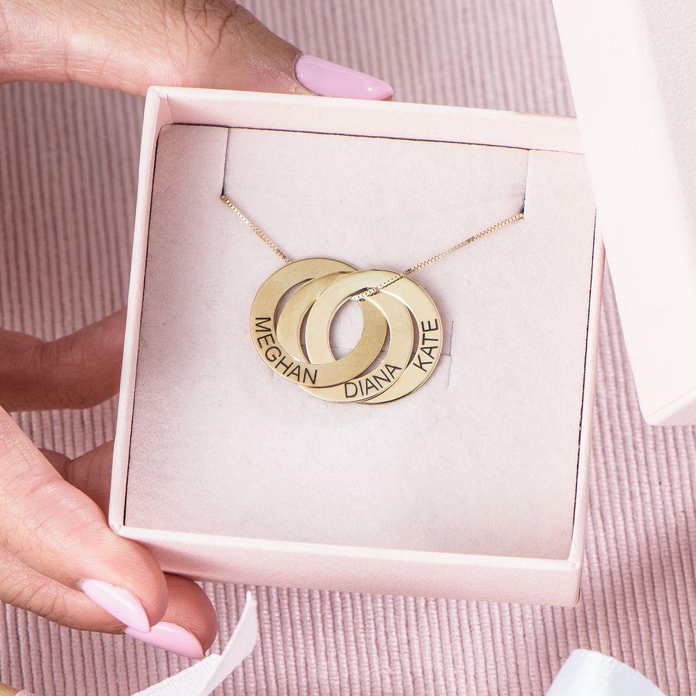 Russischer-Ring-Halskette mit Gravur aus 417er-Gelbgold - 5