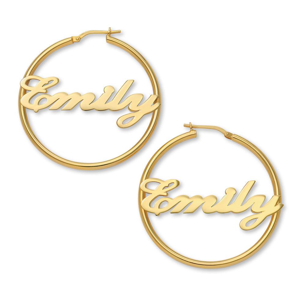 Ohrringe mit Namen aus Sterlingsilber mit 750er-Gold-Beschichtung