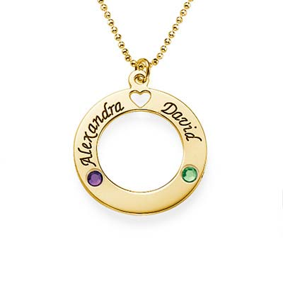 """750er vergoldete Silber Kette mit """"Ring des Lebens"""" Anhänger und Swarovski Steinen"""