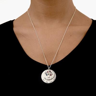 Personalisierte Familien-Stammbaumkette – Mutter-Geburtssteinkette mit Gravur - 2