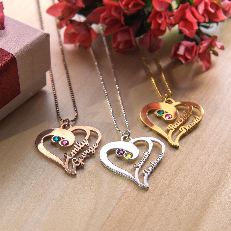 Doppelherz-Halskette - rosévergoldet - 1