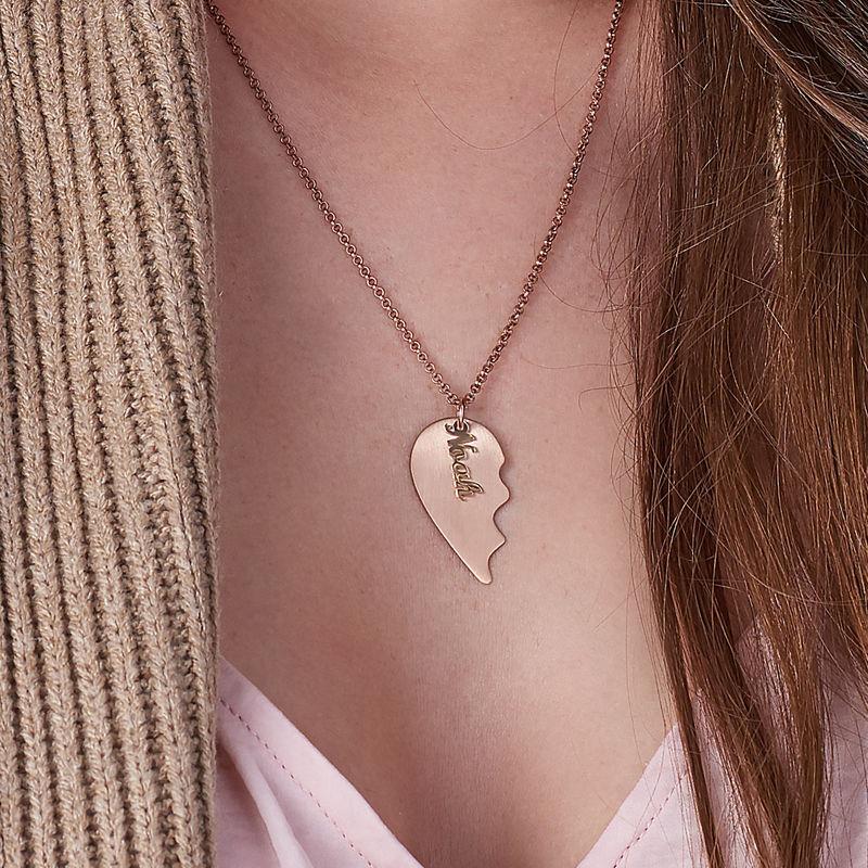 Graviertes Herz für Paare mit matter 750er Rosévergoldung - 3