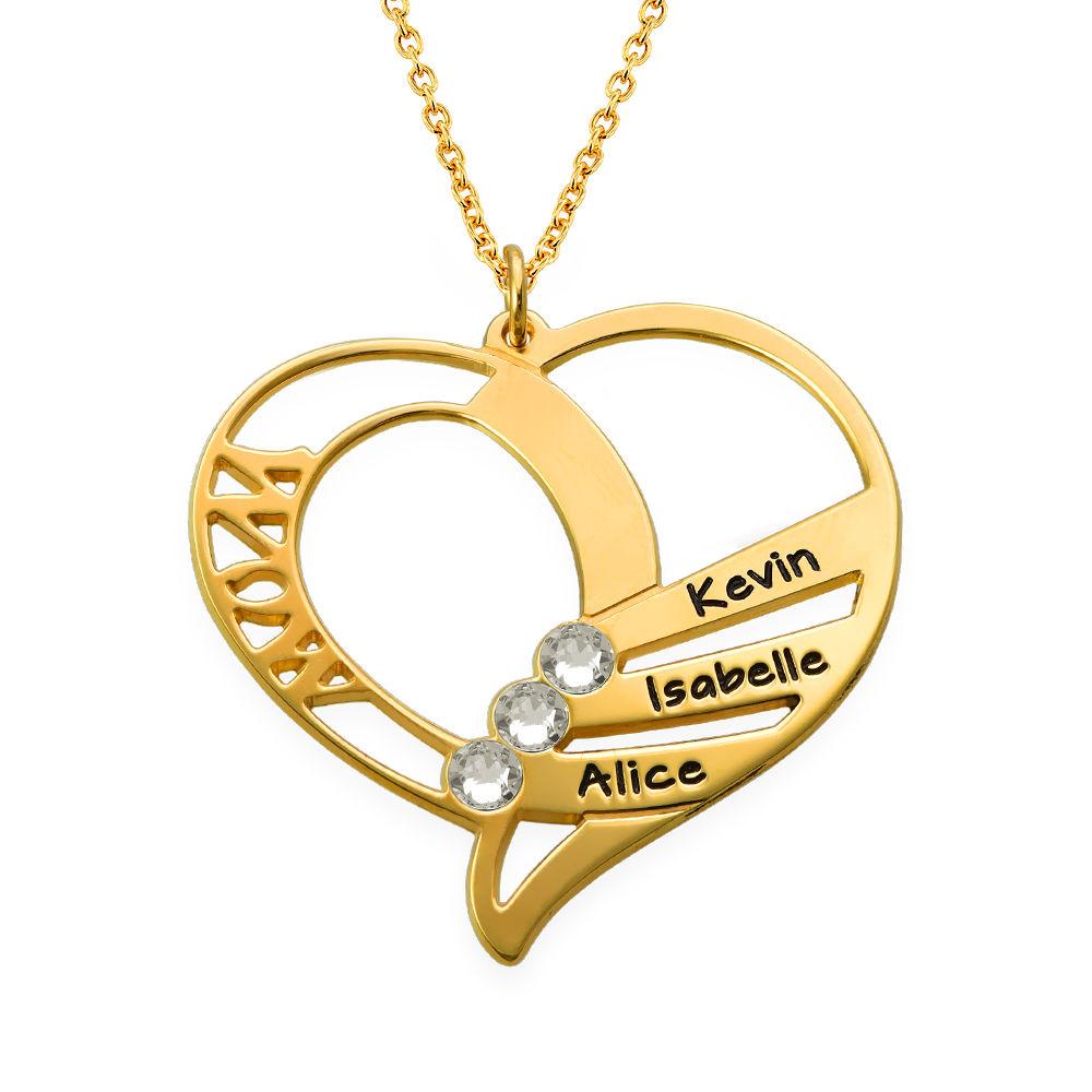 Gravierte Halskette mit Mutter-Geburtsstein aus Gold-Vermeil - 2