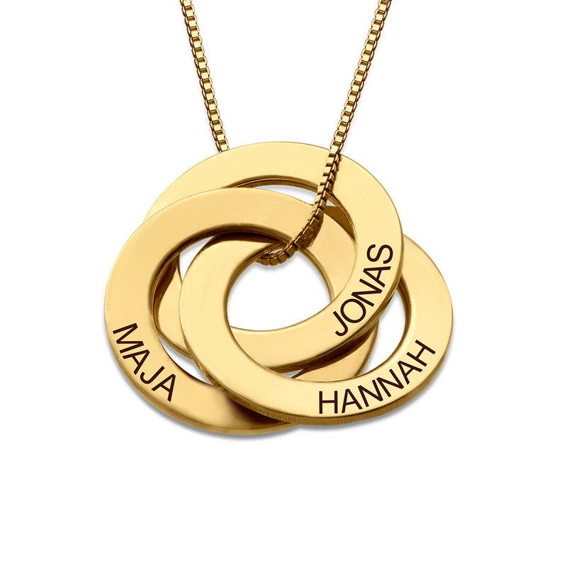 Kette mit gravierten russischen Ringen aus Gold-Vermeil