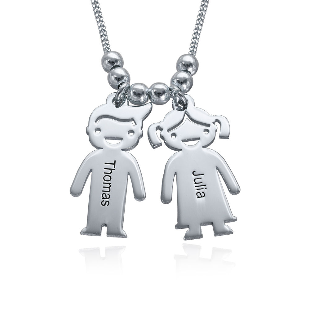 925er Sterling Silber Kette mit Kinderanhängern und Wunschgravur für Mama