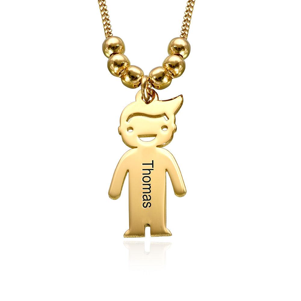 750er vergoldete Silber Kette für Mama mit Kinder Anhängern und Wunschgravur
