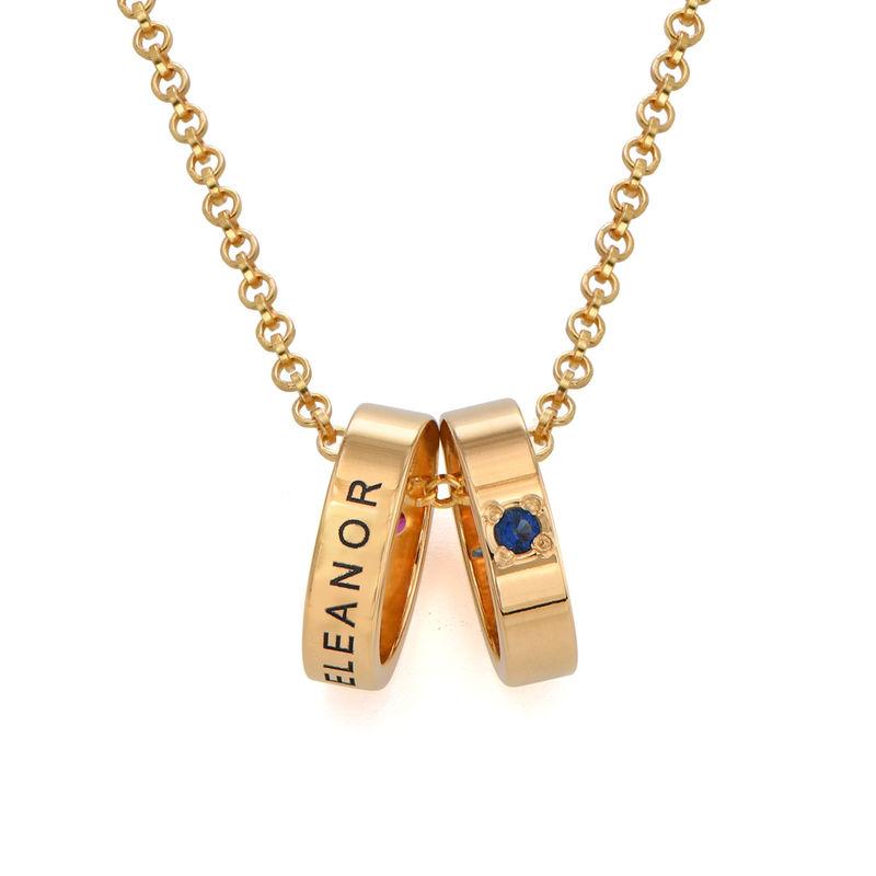 Goldbeschichtete Mutterkette mit Ring mit Gravur