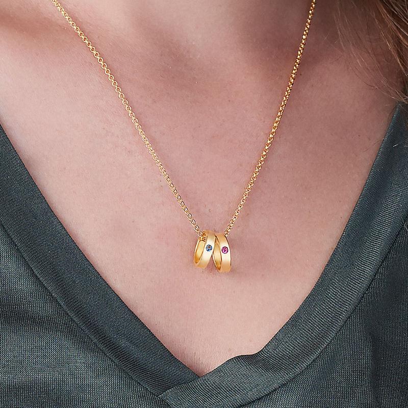 Goldbeschichtete Mutterkette mit Ring mit Gravur - 3