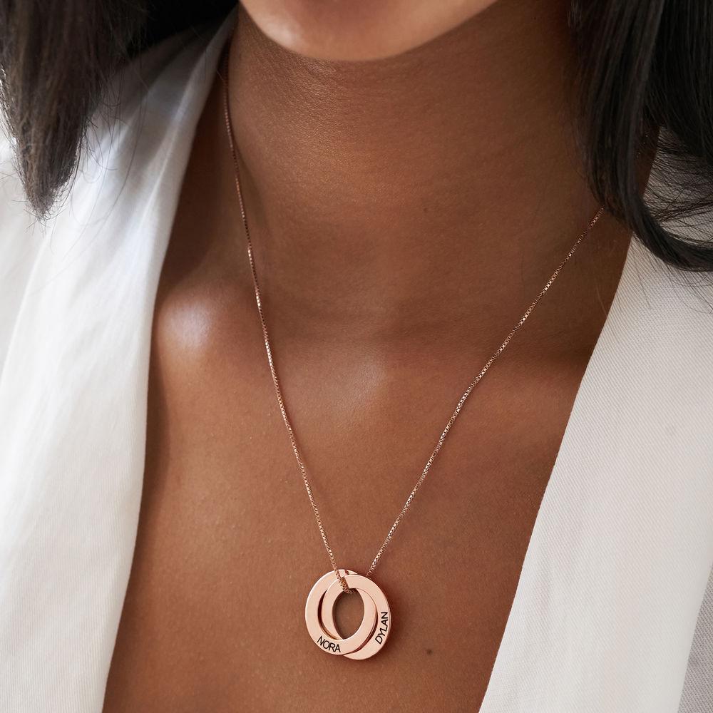Russische Ring Halskette mit zwei Ringen - rosévergoldet - 2