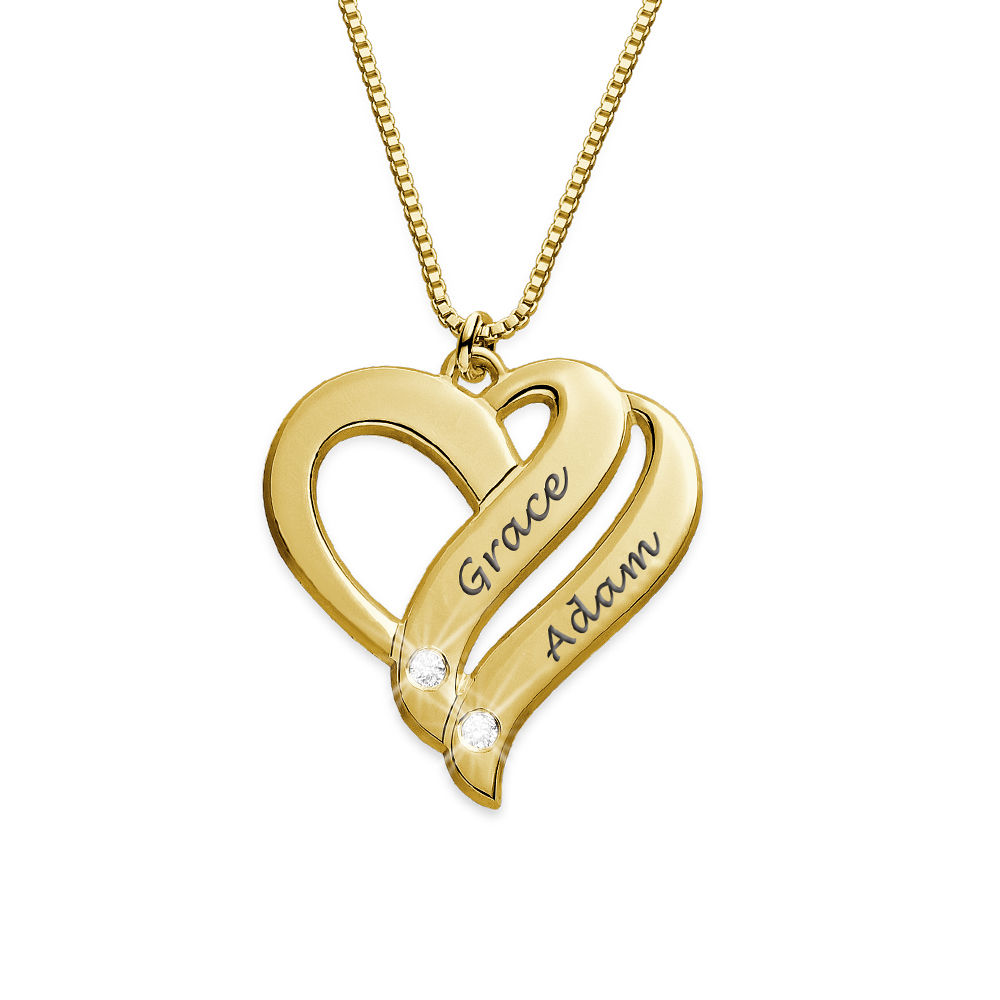 Zwei-Herzen-für-immer-vereint-Kette mit Gravur mit Diamanten und Gold-Beschichtung