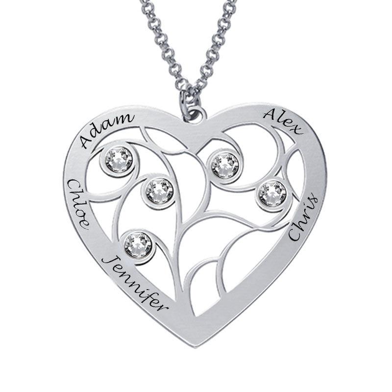 Gravierte Stammbaumkette mit Herz und Geburtssteinen aus Sterlingsilber - 1