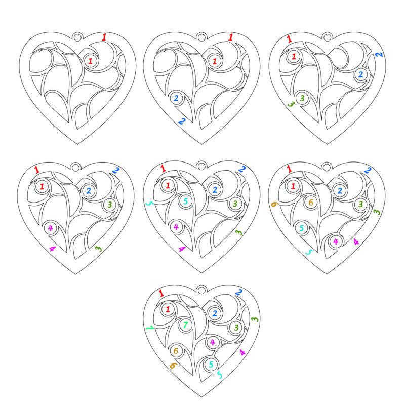 Gravierte Stammbaumkette mit Herz und Geburtssteinen mit Vergoldung - 7