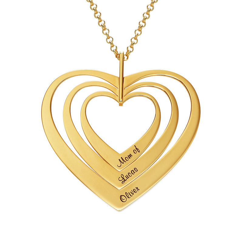 Familienkette mit Herz mit Vergoldung - 1
