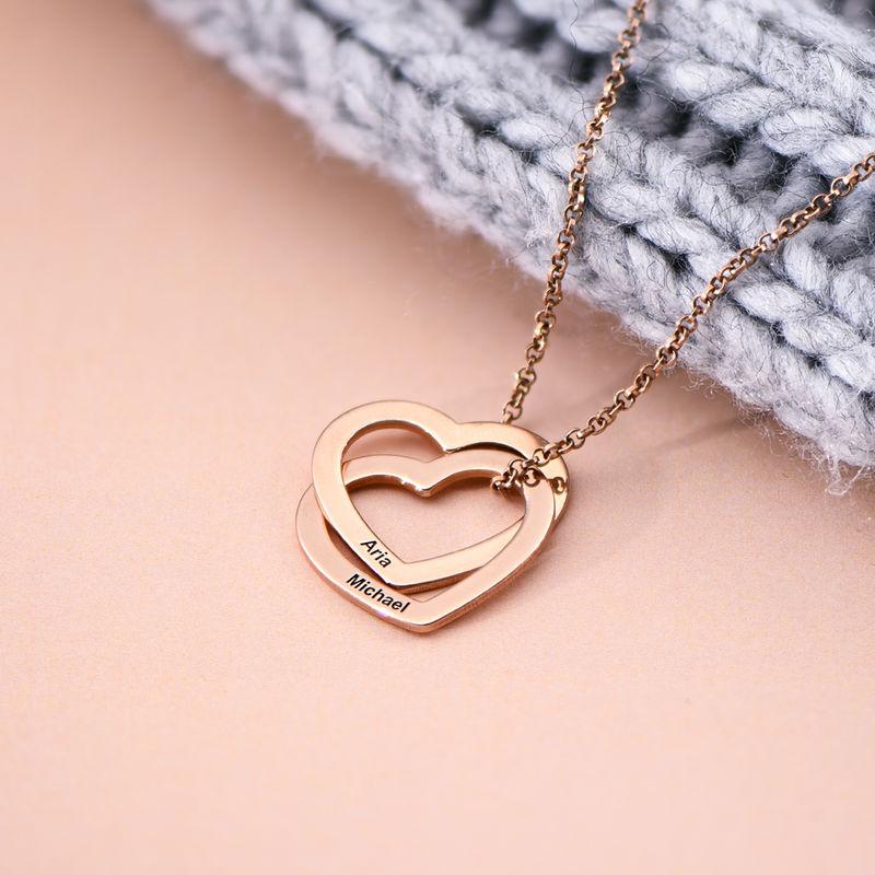 Verschlungene Herzkette mit 750er Rosévergoldung - 1