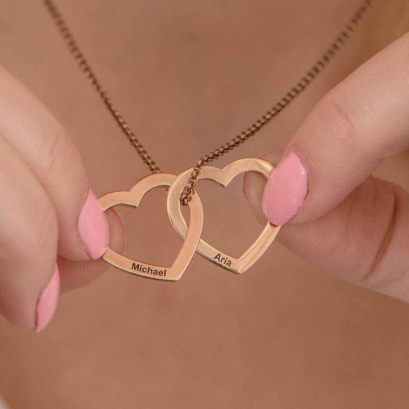 Verschlungene Herzkette mit 750er Rosévergoldung - 4