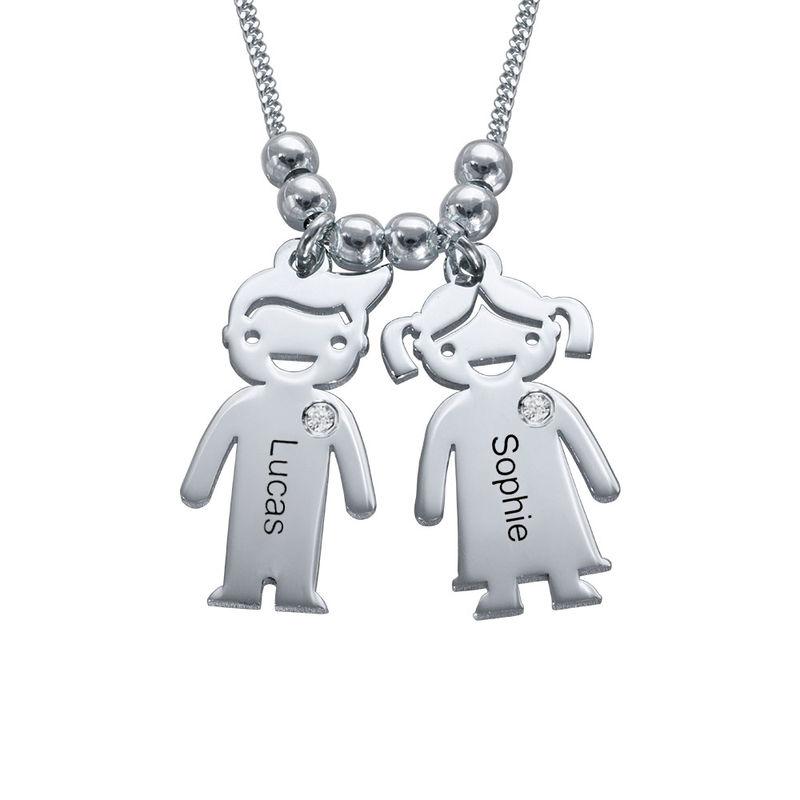 Mutterkette mit Kinder-Anhängern aus Sterlingsilber mit Diamant