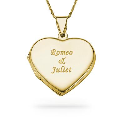 Graviertes Herz Medaillon aus 750er vergoldetem 925er Silber