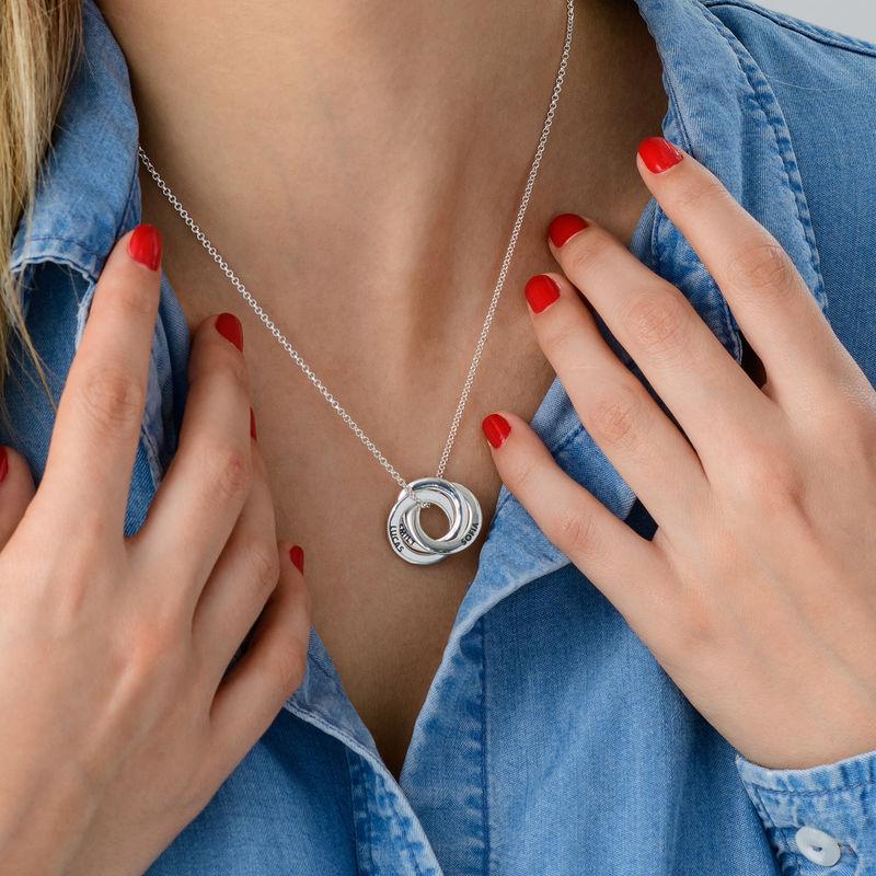 Silberne Halskette für Mama mit russischen Ringen – verbessertes 3D-Design - 4
