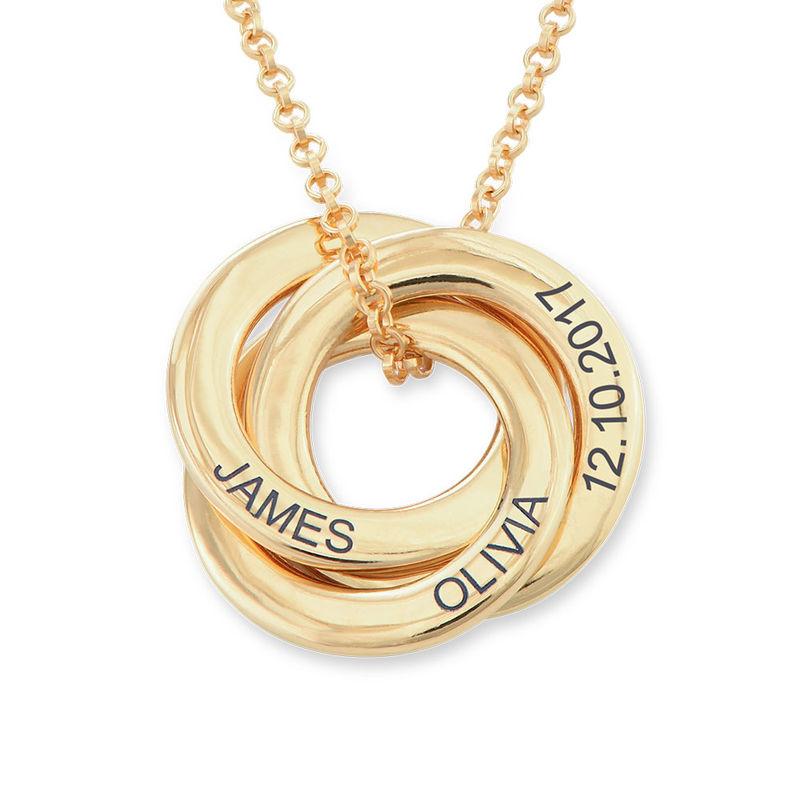 Vergoldete Halskette mit russischen Ringen aus Silber – verbessertes 3D-Design - 1