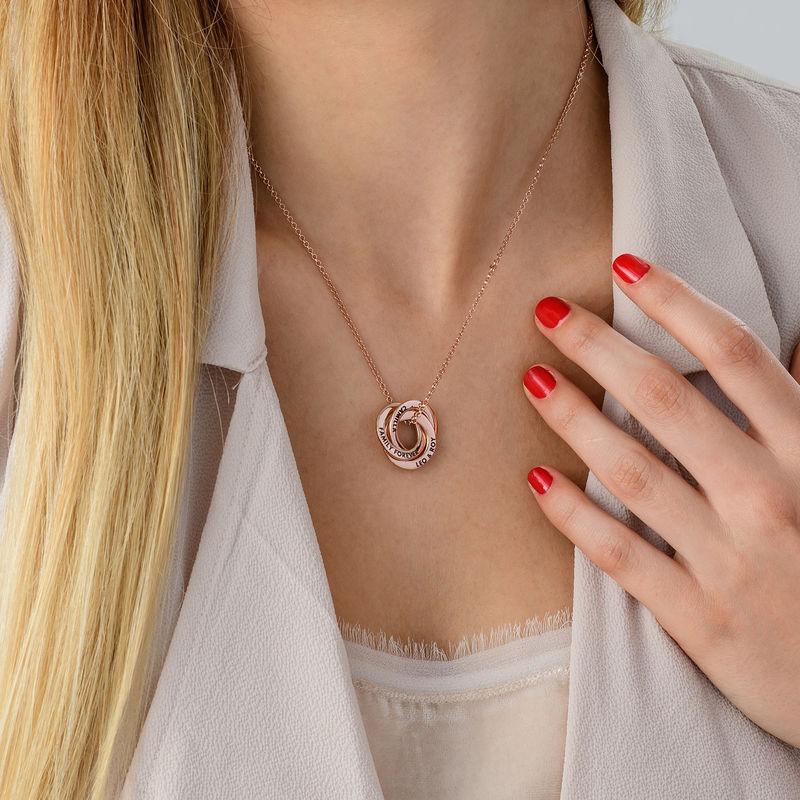 Halskette mit russischen Ringen aus Silber mit Roségold-Beschichtung – verbessertes 3D-Design - 4