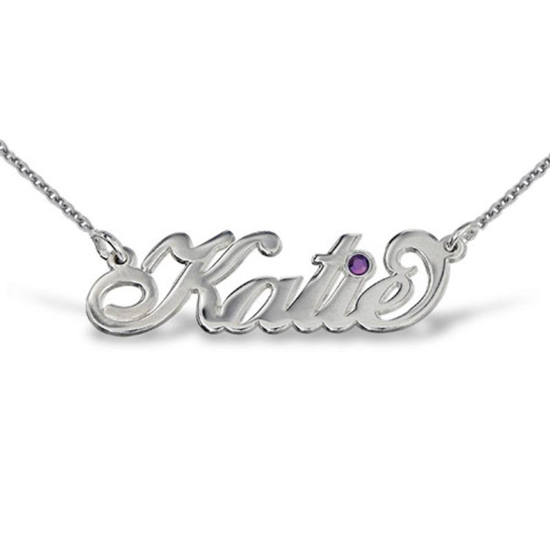 "Silber ""Carrie"" Namenskette mit Kristall"