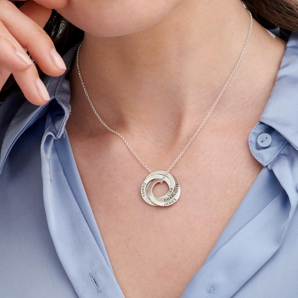 Halskette aus Sterlingsilber mit 4 russischen Ringen und Gravur - 2