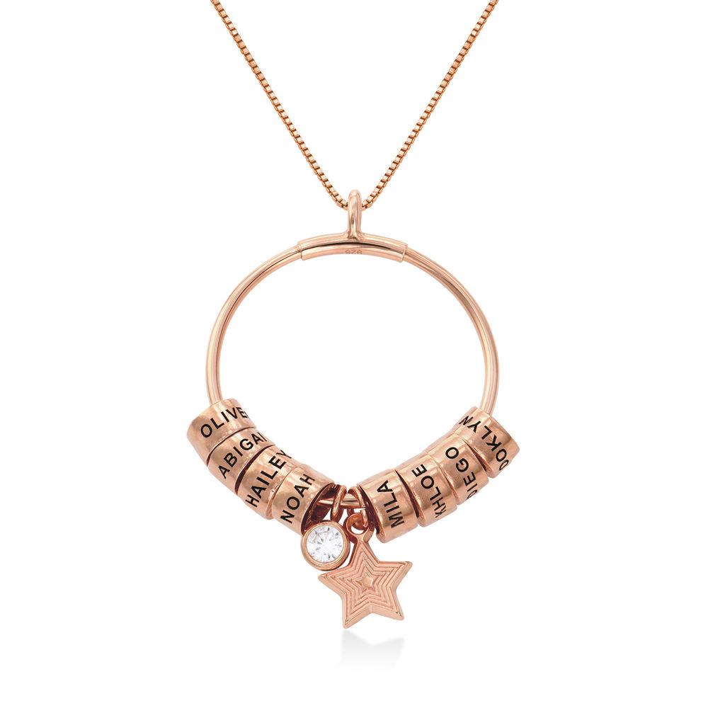 Großer Kreis Linda Anhängerkette mit Stern und personalisierten Perlen ™ mit 750er-Roségold-Beschichtung