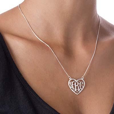 Monogramm Herzkette aus 925er Silber - 1