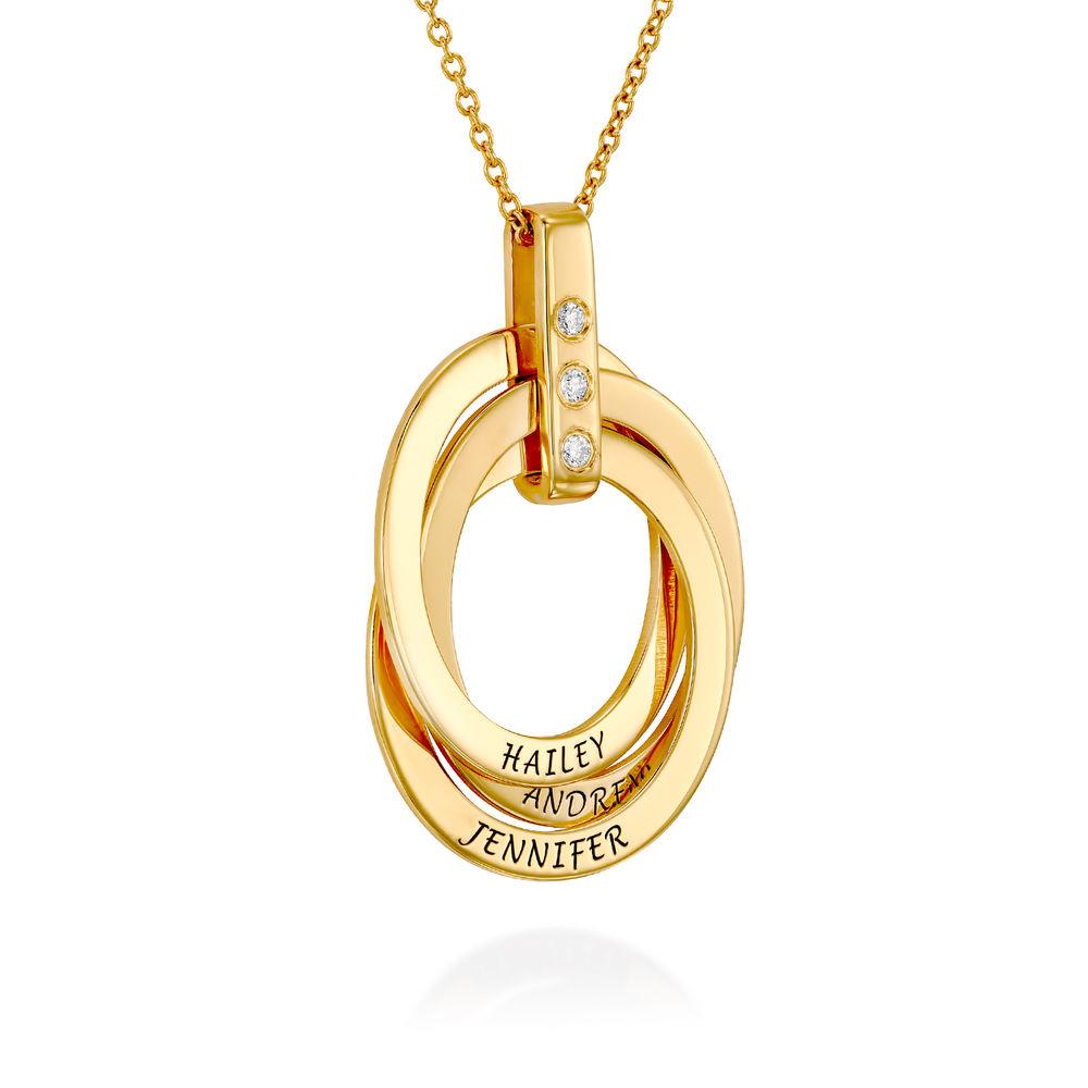 Halskette mit gravierten russischen Ringen aus Gold - Vermeil mit Diamant - 1