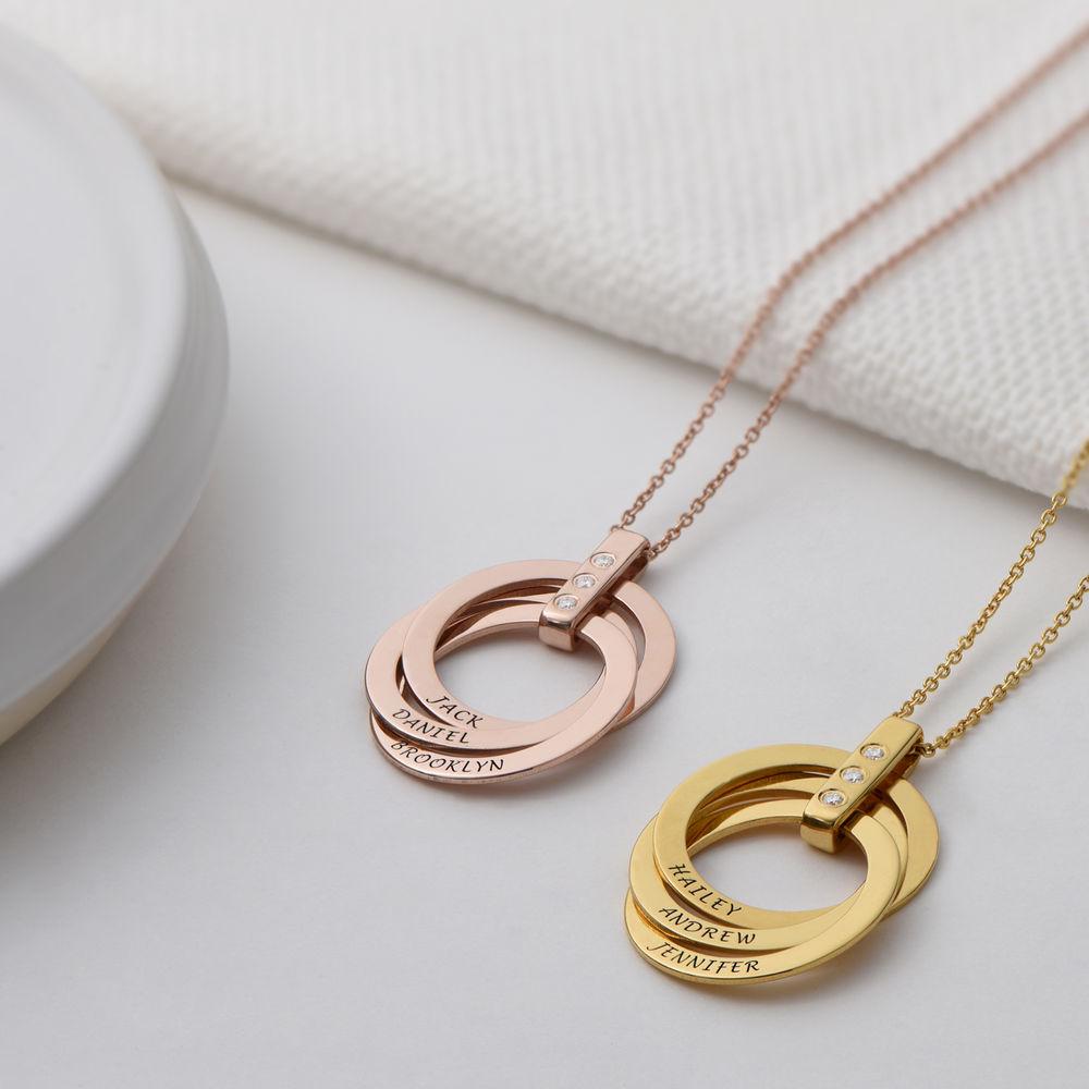 Halskette mit gravierten russischen Ringen aus Gold - Vermeil mit Diamant - 2